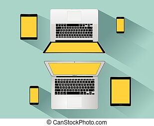 moderne, téléphone, tablette, ordinateur portable