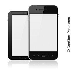moderne, téléphones mobiles, à, écran blanc, isolé