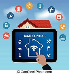 moderne, tablette numérique, pc, à, intelligent