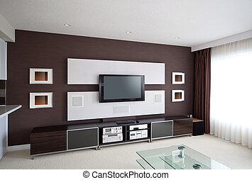 moderne, teater til hjem, rum, interior, hos, skærm flad television.