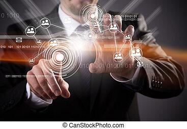 moderne, technologie sans fil, et, social, média