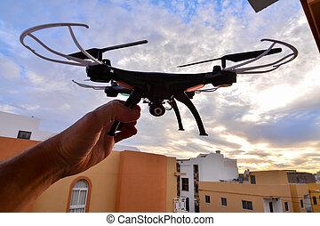 moderne teknologi, copter, closeup, flyvemaskine, hanbi