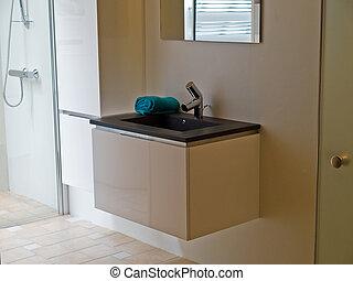 Interieur, woning, badkamer, ontwerper, tijdgenoot stockfoto\'s ...