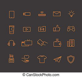 moderne, toile, et, mobile, application, pictograms, collection., lineart, interface, icônes, ensemble
