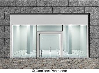 moderne, tom, butik forside, hos, stor, vinduer