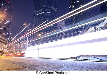 moderne, trafic, hongkong., rue, ville, pistes, lumière