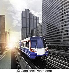 moderne, train, à, bangkok
