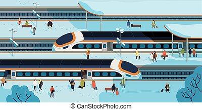 moderne, trains grande vitesse, arrêté, à, gare, et, gens, debout, et, marche, sur, plate-forme, couvert, par, snow., passager, transport routier, chemin fer, transportation., coloré, plat, vecteur, illustration.