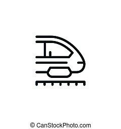 moderne, trein lijn, pictogram