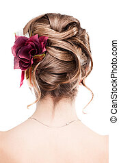 moderne, trouwfeest, hairstyle