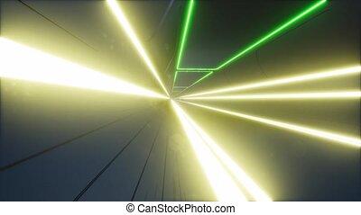 moderne, tunnel, néon, 3d, futuriste
