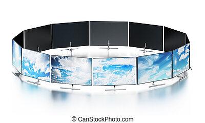 moderne, tv, schermen, muur, geschikte, illustratie, 3d, circulaire, vorm.