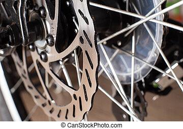 moderne, vélo, frein, macro, système, sports, coussins, calibre, espace, disque, fond, copie