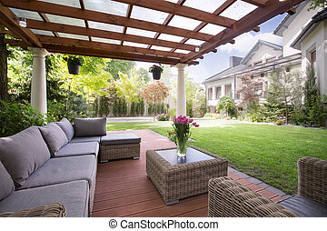 moderne, véranda, meubles jardin