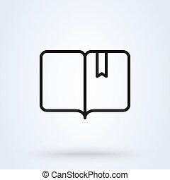moderne, vecteur, livre, ouvert, illustration, ligne., icône, conception