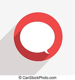 moderne, vecteur, parole, cercle, bulle, rouges, icône