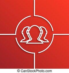moderne, vector, achtergrond, witte cirkel, rood, pictogram