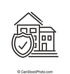 moderne, -, vector, ontwerp, lijn, verzekering, illustrative, pictogram