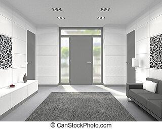 Escalier, entrée, maison, moderne, vestibule, blanc, salle. Escalier ...