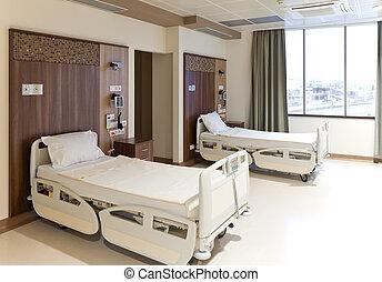 Chambre hôpital. Patient, salle, hôpital, une, propre, prêt, vide.