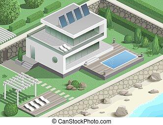 moderne, villa, côte