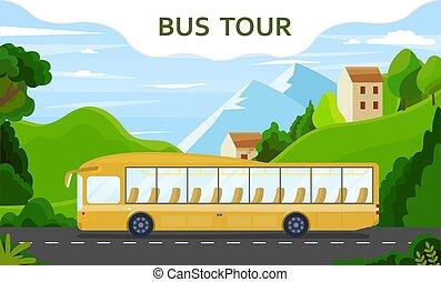 moderne, ville, autobus, jaune, tour, pays, vide