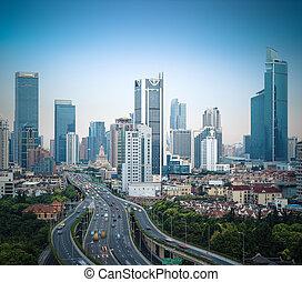 moderne, ville, route élevée, dans, shanghai
