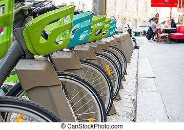moderne, ville, vélo, stationnement