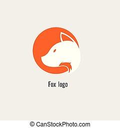 moderne, vos, achtergrond, sinaasappel, witte , logo., pagina