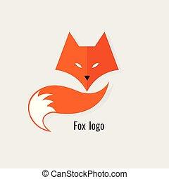 moderne, vos, achtergrond, sinaasappel, witte , logo.