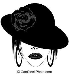 moderne, vrouw, met, hoedje, en, hangers