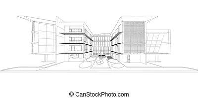 moderne, wireframe, bâtiment