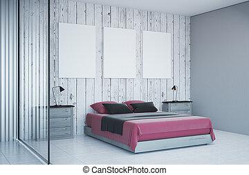 Interieur witte slaapkamer op meubel nee daylight leeg