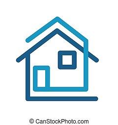 moderne, woning, plat, logo, pictogram, creatief, ontwerp, liggen, vector, illustratie