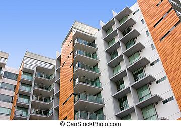 moderne, woongebied, flatgebouw