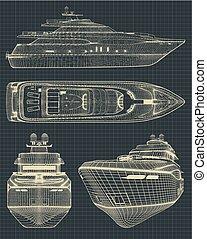 moderne, yacht, dessins