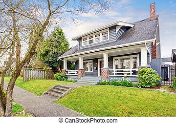 moderne, yard., noordwesten, voorkant, thuis, gras, gevulde
