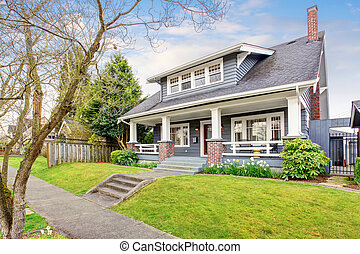 moderne, yard., nord-ouest, devant, maison, herbe, rempli