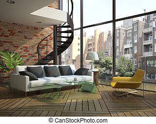 moderne, zolder, interieur, met, onderdeel van, tweede, vloer