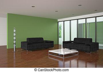 Moderner Lebensunterhalt, Zimmer, Mit, Grüne Wand