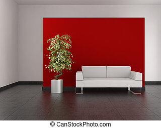 moderner lebensunterhalt, zimmer, mit, rote wand, und, tiled boden