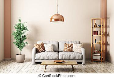 moderner lebensunterhalt, zimmer, mit, sofa, inneneinrichtung, 3d, übertragung