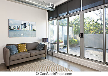 moderner lebensunterhalt, zimmer, und, balkon