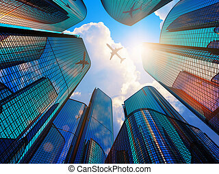 modernes geschäft, bezirk, wolkenkratzer