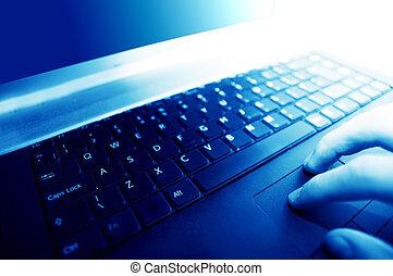 modernes geschäft, workplace., tippen, auf, tastatur