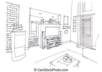 Haus skizze bleistift bleistift graphisch drawing for Modernes haus skizze
