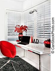 modernes zimmer, posten, arbeit, ihm, closeup, tisch, einschließlich, stuhl, weiß rot