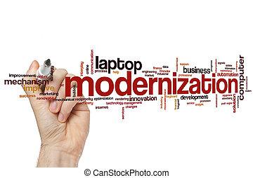 modernización, palabra, nube
