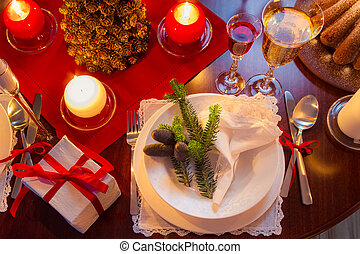 modernly, table, décoré, noël