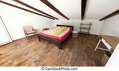 moderno, ángulo, dormitorio, edificio, tiro